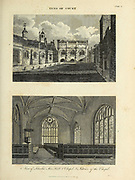 Inns of Court, Lincoln's Inn hall and Chapel (Top) Interior of the Chapel (bottom) Copperplate engraving From the Encyclopaedia Londinensis or, Universal dictionary of arts, sciences, and literature; Volume XI;  Edited by Wilkes, John. Published in London in 1812