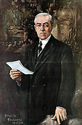 President Woodrow Wilson addressing delegates at the Versailles Peace Conference 1919  by Gonzales Gammara  1890-1972