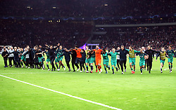 Tottenham Hotspur team celebrate after the final whistle during the UEFA Champions League Semi Final, second leg match at Johan Cruijff ArenA, Amsterdam.