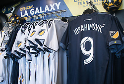 March 23, 2018 - Carson, California, U.S - The LA Galaxy game shirt of Zlatan Ibrahimovic #9 who has sign with the Galaxy for two years, went on sale on Friday March 23, 2018 at the StubHub Center in Carson, California. (Credit Image: © Prensa Internacional via ZUMA Wire)