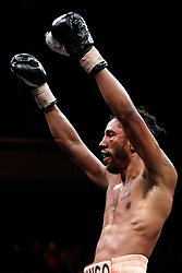 April 13, 2018 - Minnesapolis, MN, USA - Jamal Jones, of Minneapolis, acknowledges fans after his fight against Abel Ramos in a welterweight bout at the Armory in Minneapolis on Friday, April 13, 2018. (Credit Image: © Aaron Lavinsky/TNS via ZUMA Wire)