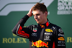 March 17, 2019 - Albert Park, VIC, U.S. - ALBERT PARK, VIC - MARCH 17: Max Verstappen on the podium at The Australian Formula One Grand Prix on March 17, 2019, at The Melbourne Grand Prix Circuit in Albert Park, Australia. (Photo by Speed Media/Icon Sportswire) (Credit Image: © Steven Markham/Icon SMI via ZUMA Press)