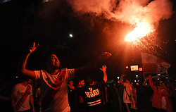 December 9, 2018 - Buenos Aires, Argentina - River Plate soccer fans celebrate their team's 3-1 victory over Boca Juniors and clenching the Copa Libertadores championship title, at the Obelisk. (Credit Image: © Gabriel Sotelo/NurPhoto via ZUMA Press)