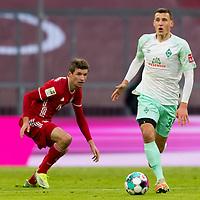 21.11.2020, Allianz Arena, Muenchen, GER,  FC Bayern Muenchen SV Werder Bremen <br /> <br /> <br />  im Bild Thomas Müller / Mueller (FCB #25) und Maximilian Eggestein (SV Werder Bremen #35) <br /> <br /> <br /> <br /> Foto © nordphoto / Straubmeier / Pool/ <br /> <br /> DFL regulations prohibit any use of photographs as image sequences and / or quasi-video.