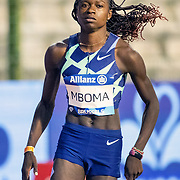 BRUSSELS, BELGIUM:  September 3:  Christine Mboma of Namibia warming up before the 200m for women race during the Wanda Diamond League 2021 Memorial Van Damme Athletics competition at King Baudouin Stadium on September 3, 2021 in  Brussels, Belgium. (Photo by Tim Clayton/Corbis via Getty Images)