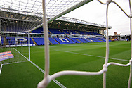 A stadium shot taken through the goal net before the EFL Sky Bet League 1 match between Peterborough United and Luton Town at London Road, Peterborough, England on 18 August 2018.