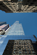 New York. buildings reflection on 54th street and Broadway. Times square area  New York  Usa / reflets des buildings sur la 54 me rue et Broadway. quartier de Times square  New York  Usa