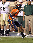 Sept. 3, 2011 - Charlottesville, Virginia - USA; Virginia Cavaliers cornerback Demetrious Nicholson (1) runs with the ball after making an interception during an NCAA football game against William & Mary at Scott Stadium. Virginia won 40-3. (Credit Image: © Andrew Shurtleff
