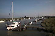 Boats and jetties, Southwold harbour and Walberswick, Suffolk, England