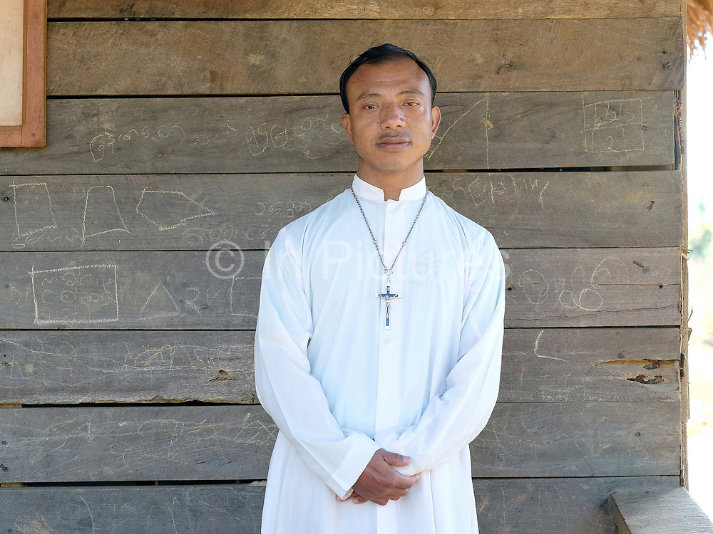 Brother Peter Victor at Mary of Christian church in the Kayan village of Ye Phyu, Kayah State, Myanmar on 13th November 2016. In the past most people residing in Kayah State were traditional spirit worshippers, but significant numbers have converted to Christianity, especially Baptist or Catholic.
