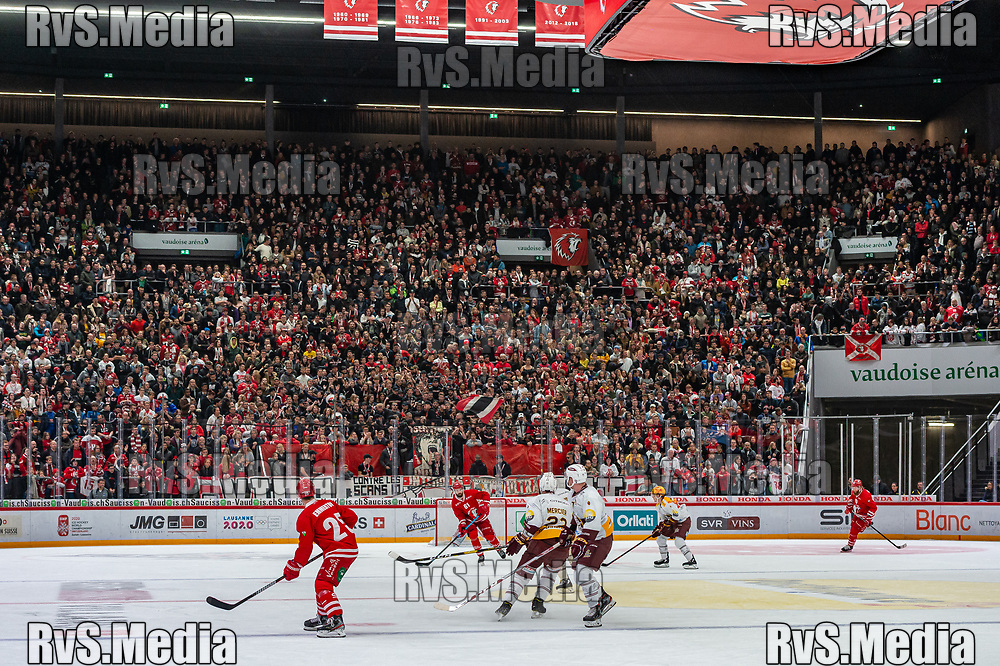 LAUSANNE, SWITZERLAND - NOVEMBER 23: LHC fans  during the Swiss National League game between Lausanne HC and Geneve-Servette HC at Vaudoise Arena on November 23, 2019 in Lausanne, Switzerland. (Photo by Monika Majer/RvS.Media)