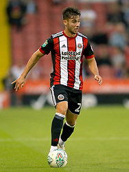 """Sheffield United's George Baldock during the Carabao Cup, Second Round match at Bramall Lane, Sheffield. PRESS ASSOCIATION Photo. Picture date: Tuesday August 22, 2017. See PA story SOCCER Sheff Utd. Photo credit should read: Tim Goode/PA Wire. RESTRICTIONS: EDITORIAL USE ONLY No use with unauthorised audio, video, data, fixture lists, club/league logos or """"live"""" services. Online in-match use limited to 75 images, no video emulation. No use in betting, games or single club/league/player publications."""