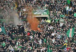 Celtic fans celebrate after the second Celtic goal during the Ladbrokes Scottish Premiership match at Celtic Park, Glasgow.