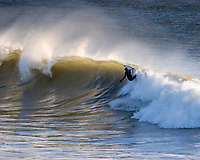 Surfing at Freshwater Bay, Isle of Wight on the 4th January 2020
