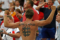 Photo: Glyn Thomas.<br />England v Portugal. Quarter Finals, FIFA World Cup 2006. 01/07/2006.<br /> An England fan with a tattoo on his back.