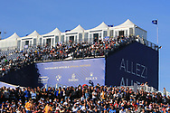 ALLEZ ALLEZ stand during Saturday Foursomes at the Ryder Cup, Le Golf National, Ile-de-France, France. 29/09/2018.<br /> Picture Thos Caffrey / Golffile.ie<br /> <br /> All photo usage must carry mandatory copyright credit (© Golffile | Thos Caffrey)