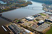 Aerial view of Dubuque, Iowa and the Mississippi River, the swinging railroad bridge, and the Julien Dubuque Bridge to East Dubuque, Illinois.