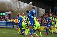 AFC Wimbledon defender Luke O'Neill (2) winning header in the box during the EFL Sky Bet League 1 match between AFC Wimbledon and Bolton Wanderers at the Cherry Red Records Stadium, Kingston, England on 7 March 2020.
