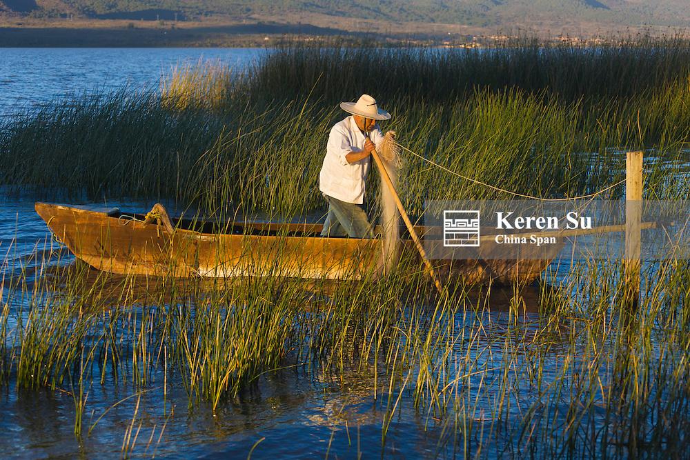 Fishing boat on Lake Patzcuaro, Michoacan, Mexico