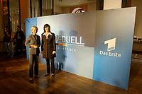 07 AUG 2002, BERLIN/GERMANY:<br /> Sabine Christiansen (blond), ARD TV Moderatorin, und Maybritt Illner (bruenett), ZDF TV Moderatorin, waehrend einem Fototermin zu einer Pressekonferenz von ARD und ZDF zu den bevorstehenden TV Duellen zwischen Kanzler und Unions-Kanzlerkandidat, Museum fuer Kommunikation<br /> IMAGE: 20020807-01-006<br /> KEYWORDS: Fernsehduell, Duell, Wahlkampf, Polit-Talk,