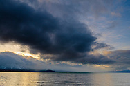 Storm clouds over Lake Tahoe in spring, from South Lake Tahoe, California