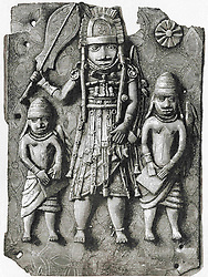 December 2, 2016: One Of The Benin Bronze Plaques Which Originally Decorated The Royal Palace Of The Benin Kingdom In Modern-Day Nigeria.  From Meyers Lexicon, Published 1924. (Credit Image: © Ken Welsh/Design Pics via ZUMA Wire)