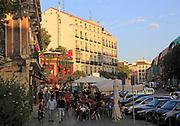 Pavement street cafe in La Latina barrio, Madrid city centre, Spain