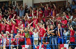 Fans of Tajfun during basketball match between KK Tajfun and KK Rogaskain 2nd Round of Final of Slovenian National Basketball Championship 2014/15, on May 24, 2015 in OS Hrusevec, Sentjur pri Celju, Slovenia. Photo by Vid Ponikvar / Sportida