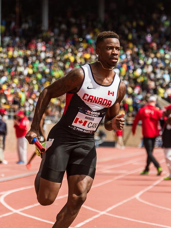 Penn Relays, USA vs the World, mens 4x400 relay, Harris, Canada