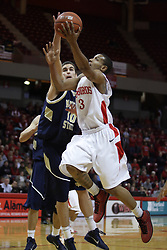 04 December 2010: Trey Blue hustles around Jeff Budinich during an NCAA basketball game between the Montana State Bobcats and the Illinois State Redbirds at Redbird Arena in Normal Illinois.