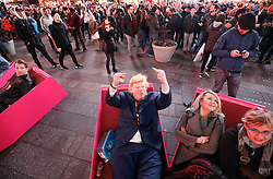 © Licensed to London News Pictures. 09/11/2016. New York City, USA. A man dressed as Donald Trump gestures to the camera as members of the public react to news that Donald Trump looks likely to be elected as the next president of the United States, while gathering in Times Square, New York City, on Wednesday, 9 November. Photo credit: Tolga Akmen/LNP