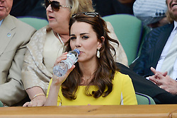 © Licensed to London News Pictures. 07/07/2016. CATHERINE DUCHESS OF CAMBRIDGE watches tennis from the Royal Box on the centre court on the eleventh day of the WIMBLEDON Lawn Tennis Championships. London, UK. Photo credit: Ray Tang/LNP