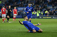 Marko Grujic of Cardiff city © celebrates after he scores his teams 2nd goal. EFL Skybet championship match, Cardiff city v Barnsley at the Cardiff city stadium in Cardiff, South Wales on Tuesday 6th March 2018.<br /> pic by Andrew Orchard, Andrew Orchard sports photography.