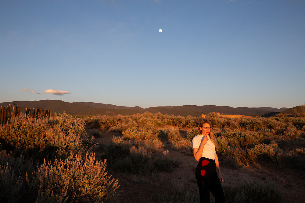 Self portrait during moon rise in Ranchos De Taos, New Mexico, May 2020.