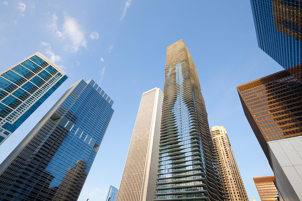 Aqua Building and modern skyscrapers at downtown, Chicago, Illinois, USA
