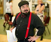 """Ben Medina rehearses Sunday as Derek for the Jackson Community Theater murder mystery dinner theater, """"And the Winner is … Murder,"""" a benefit for the senior center."""