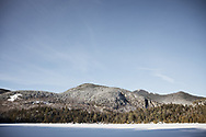 winter view of Whiteface from Copperas Pond in the Adirondack Park of New York