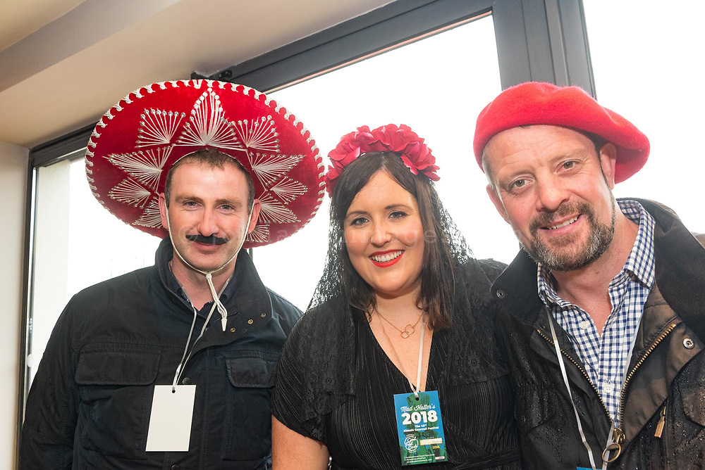 REPRO FREE<br /> Fintan Holloran, Cong with Emma Toner and Ken Ottley from Moynalvey pictured at the 42nd Kinsale Gourmet Festival Mad Hatters Taste of Kinsale.<br /> Picture. John Allen