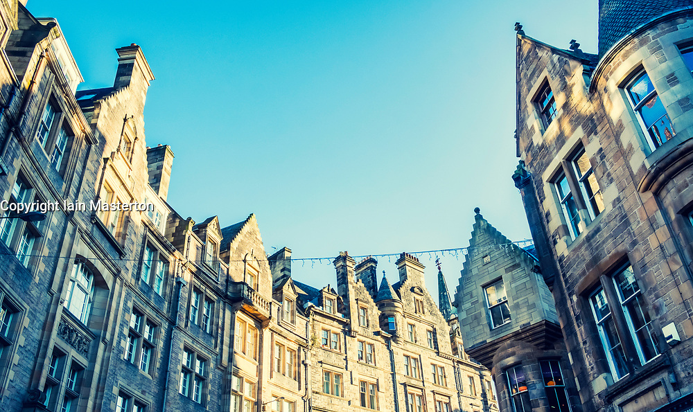 View of old tenement buildings on Cockburn Street in Edinburgh Old Town , Scotland, United Kingdom.