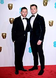 Jamie Bell (left) and Taron Egerton attending the 72nd British Academy Film Awards held at the Royal Albert Hall, Kensington Gore, Kensington, London.