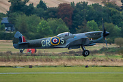 18 Spitfires take off from the grass airstrip for the final flypast - The Duxford Battle of Britain Air Show is a finale to the centenary of the Royal Air Force (RAF) with a celebration of 100 years of RAF history and a vision of its innovative future capability.