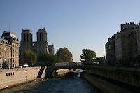 View from bridge on the River Seine, Paris, France<br />