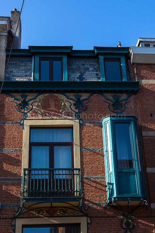 Art Nouveau decoration on houses in Ixelles, Brussels, Belgium.