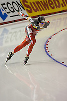 Calgary - December 5, 2009 - Essent ISU World Cup Speedskating at the Olympic Oval in Calgary.  Kristina Groves of Canada races in the A Division of the women's 1500m event.  Groves finished 1st in 1:54.35 and was part of a strong Canadian contingent that took 3 of the top 4 places in the event...©2009, Sean Phillips.http://www.Sean-Phillips.com