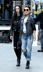 "Natalie Portman with costar Raffey Cassidy are seen sporting punk rocker looks while filming ""Vox Lux"" in Downtown Manhattan. 28 Feb 2018 Pictured: Natalie Portman and Raffey Cassidy. Photo credit: LRNYC / MEGA TheMegaAgency.com +1 888 505 6342"