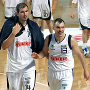 Fenerbahce's Sarunas JASIKEVICIUS (R) and Kaya PEKER (L) during their Turkish Basketball Legague Play-Off semi final first match Fenerbahce between Efes Pilsen at the Sinan Erdem Arena in Istanbul Turkey on Tuesday 24 May 2011. Photo by TURKPIX