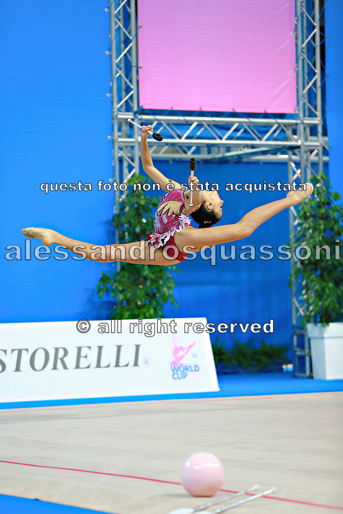 """Basta Anna during clubs routine at the International Tournament of rhythmic gymnastics """"Città di Pesaro"""", 02 April, 2016. Anna is an Italian gymnast, born on January 23, 2000 in Bologna.<br /> This tournament dedicated to the youngest athletes is at the same time of the World Cup."""