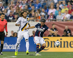 July 22, 2017 - Foxborough, Massachusetts, USA - Foxborough, Massachusetts - July 22, 2017: In a Major League Soccer (MLS) match, New England Revolution (blue/white) defeated LA Galaxy (white), 4-3, at Gillette Stadium. (Credit Image: © Andrew Katsampes/ISIPhotos via ZUMA Wire)