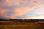 Sunset from the car window near Missoula, Montana on Interstate 90.