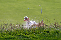 June 11, 2019 - Pebble Beach, CA, U.S. - PEBBLE BEACH, CA - JUNE 11: Golfer Collin Morikawa hits out of a sand trap on the 18th hole during a practice round for the 2019 US Open on June 11, 2019, at Pebble Beach Golf Links in Pebble Beach, CA. (Photo by Brian Spurlock/Icon Sportswire) (Credit Image: © Brian Spurlock/Icon SMI via ZUMA Press)